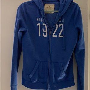Hollister blue zip up hoodie